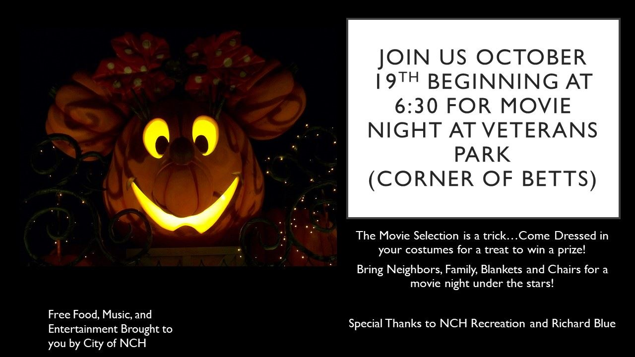 Halloween Join Us October 19th beginning at 6